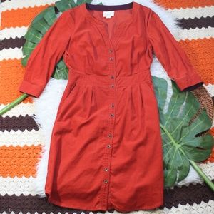 Maeve Anthropologie Button Down Corduroy Dress 4